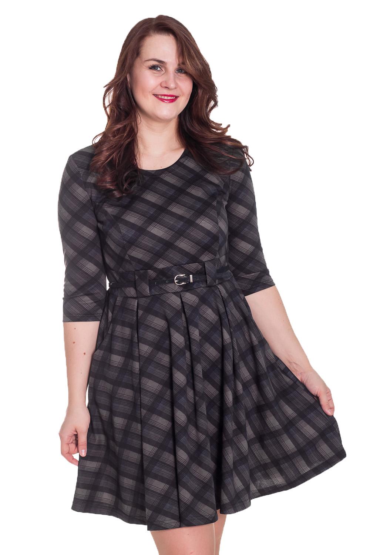 ПлатьеПлатья<br>Универсальное платье в клеточку. Модель выполнена из приятного материала. Отличный выбор для повседневного и делового гардероба. Платье без ремшка.  Цвет: коричневый, серый  Рост девушки-фотомодели 180 см<br><br>По образу: Офис,Свидание,Город<br>По стилю: Повседневный стиль,Офисный стиль<br>По материалу: Вискоза,Трикотаж<br>По рисунку: В полоску,Геометрия,Цветные<br>По сезону: Весна,Осень<br>По силуэту: Полуприталенные<br>По форме: Платье - трапеция<br>По длине: До колена<br>Рукав: Рукав три четверти<br>Горловина: С- горловина<br>Размер: 48,50,52,54<br>Материал: 60% вискоза 30% полиэстер 10% эластан<br>Количество в наличии: 2