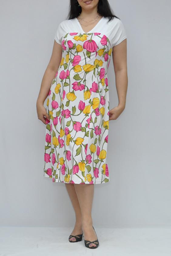 ПлатьеПлатья<br>Красивое летнее платье с короткими рукавами. Модель выполнена из приятного трикотажа. Отличный выбор для повседневного гардероба.  Цвет: белый, розовый, желтый, зеленый  Рост девушки-фотомодели 176 см.<br><br>Горловина: V- горловина<br>По длине: Ниже колена<br>По материалу: Вискоза,Трикотаж<br>По образу: Город,Свидание<br>По рисунку: Растительные мотивы,С принтом,Цветные,Цветочные<br>По силуэту: Полуприталенные<br>По стилю: Повседневный стиль<br>По форме: Платье - трапеция<br>Рукав: Короткий рукав<br>По сезону: Лето<br>Размер : 50<br>Материал: Холодное масло<br>Количество в наличии: 1