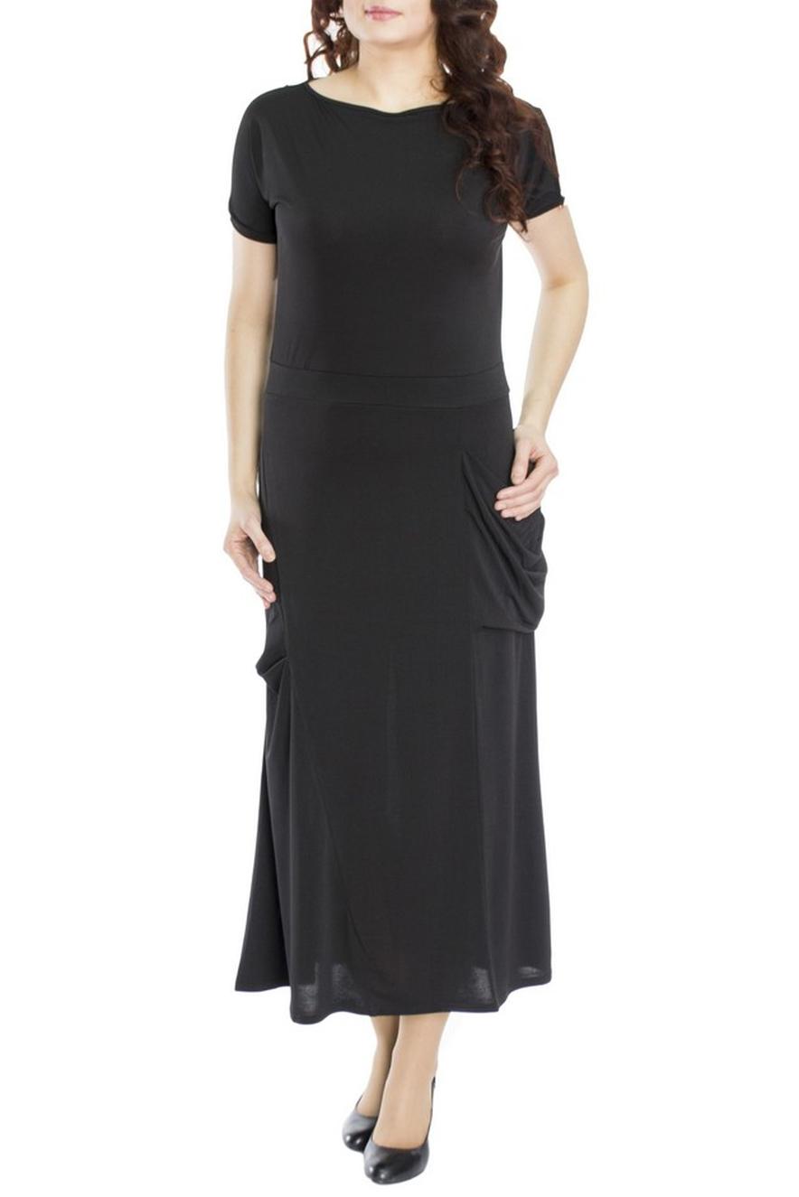 ПлатьеПлатья<br>Оригинальное длинное платье, которое можно носить и каждый день, а так же которое подойдет для торжественного случая. Прилегающий силуэт подчеркивает фигуру, а отрезная юбка с клином в правом боку, в доль которого идут защипы, придает роскошь вашему наряду. А интересный разрез на левом рукаве, обнажающий плечо, декорированный цепью, перекликается с присболенным карманом.  Длина изделия по спинке 128-130 см.  В изделии использованы цвета: черный  Рост девушки-фотомодели 170 см.<br><br>Горловина: С- горловина<br>По длине: Макси<br>По материалу: Трикотаж<br>По рисунку: Однотонные<br>По силуэту: Полуприталенные<br>По стилю: Повседневный стиль<br>По элементам: С карманами<br>Рукав: Короткий рукав<br>По сезону: Осень,Весна<br>Размер : 46,50<br>Материал: Холодное масло<br>Количество в наличии: 2