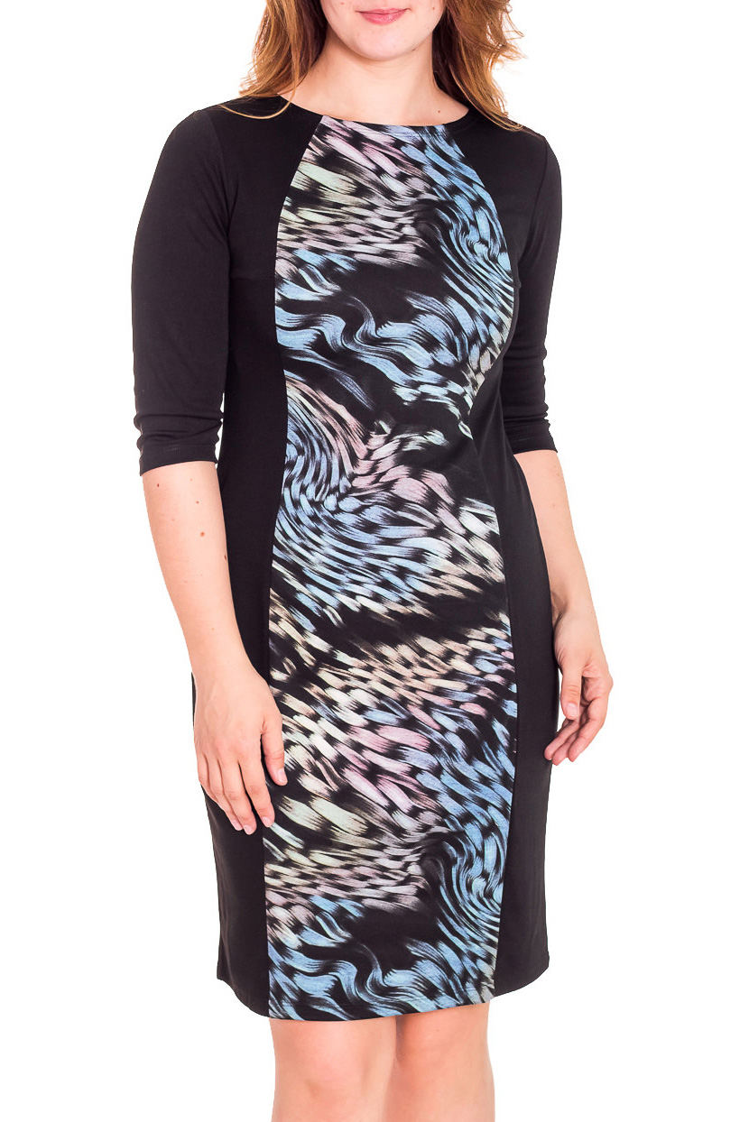 ПлатьеПлатья<br>Прекрасное платье с круглой горловиной и рукавами 3/4. Модель приталенного силуэта, выполнена из плотного трикотажа. Отличный выбор для повседневного гардероба.  Цвет: черный, голубой, розовый  Рост девушки-фотомодели 180 см.<br><br>Горловина: С- горловина<br>По длине: До колена<br>По материалу: Вискоза,Трикотаж<br>По рисунку: Абстракция,Цветные,С принтом<br>По сезону: Весна,Осень,Зима<br>По стилю: Повседневный стиль<br>По форме: Платье - футляр<br>Рукав: Рукав три четверти<br>По силуэту: Приталенные<br>Размер : 48,50,52,54<br>Материал: Трикотаж<br>Количество в наличии: 9