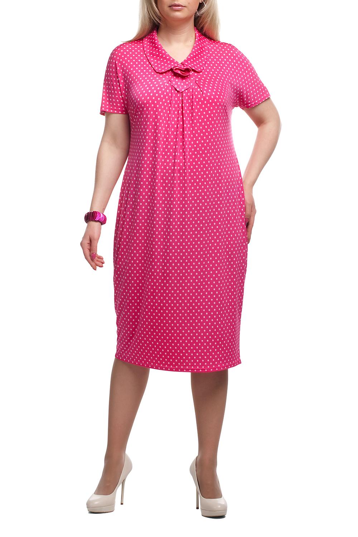 ПлатьеПлатья<br>Чудесное платье в горошек. Модель выполнена из приятного трикотажа. Отличный выбор для любого случая.  Цвет: розовый, белый  Рост девушки-фотомодели 173 см<br><br>Воротник: Отложной<br>По длине: Ниже колена<br>По рисунку: В горошек,С принтом,Цветные<br>По силуэту: Полуприталенные<br>По стилю: Повседневный стиль<br>По форме: Платье - футляр<br>Рукав: Короткий рукав<br>По сезону: Лето<br>Горловина: С- горловина<br>По материалу: Трикотаж<br>Размер : 52,54,58,60,62,64,66,68,70<br>Материал: Холодное масло<br>Количество в наличии: 28