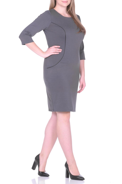 ПлатьеПлатья<br>Просто и со вкусом - это об этом однотонном платье, которое можно купить в нашем интернет-магазине одежды. Полуприлегающий силуэт с классическим круглым вырезом и женственными рукавами три четверти искусно подчеркивает фигуру за счет тальевых вытачек на спине. Нарочитую лаконичность фасона оттеняет декоративная отделка вставок из искусственной кожи, придающая модели динамичность. Платье хорошо сидит и виртуозно обыгрывает фигуру. Дополните его яркими контрастными аксессуарами, и стильный образ готов Ткань - плотный трикотаж, характеризующийся эластичностью, растяжимостью и мягкостью.  Длина изделия по спинке 98 см.  В изделии использованы цвета: серый  Рост девушки-фотомодели 170 см.<br><br>Горловина: С- горловина<br>По длине: До колена<br>По материалу: Вискоза,Трикотаж<br>По рисунку: Однотонные<br>По силуэту: Приталенные<br>По стилю: Классический стиль,Кэжуал,Офисный стиль,Повседневный стиль<br>По форме: Платье - футляр<br>Рукав: Рукав три четверти<br>По сезону: Осень,Весна,Зима<br>Размер : 50,52,54,56<br>Материал: Джерси<br>Количество в наличии: 4