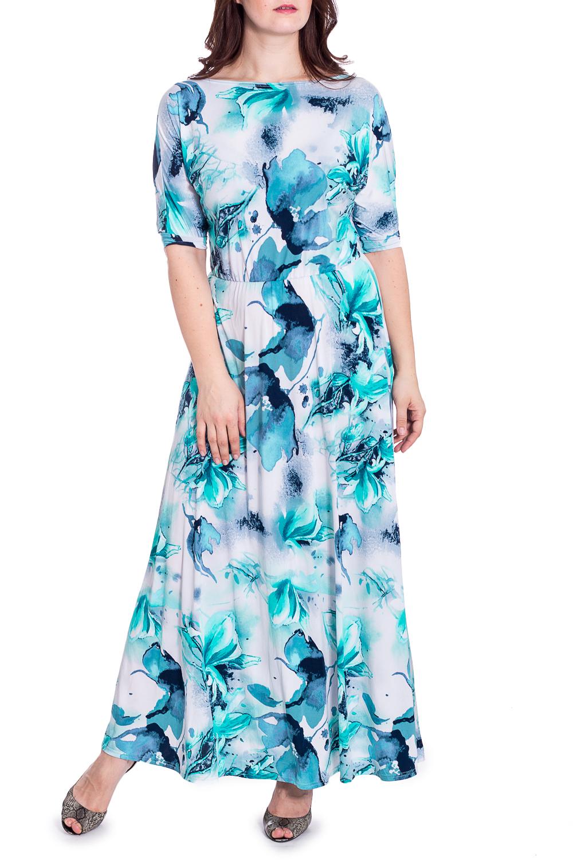 ПлатьеПлатья<br>Чудесное платье в пол с горловиной quot;лодочкаquot; и рукавами 3/4. Модель станет прекрасной составляющей Вашего гардероба.  В изделии использованы цвета: синий, белый, бирюзовый и др.  Рост девушки-фотомодели 180 см<br><br>Горловина: Лодочка<br>По длине: Макси<br>По материалу: Трикотаж<br>По рисунку: Растительные мотивы,С принтом,Цветные,Цветочные<br>По сезону: Весна,Лето<br>По силуэту: Полуприталенные<br>По стилю: Повседневный стиль<br>По форме: Платье - трапеция<br>Рукав: До локтя,Рукав три четверти<br>Размер : 46,50,54<br>Материал: Холодное масло<br>Количество в наличии: 4