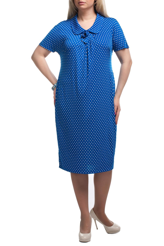 ПлатьеПлатья<br>Чудесное платье в горошек. Модель выполнена из приятного трикотажа. Отличный выбор для любого случая.  Цвет: синий, белый  Рост девушки-фотомодели 173 см<br><br>Воротник: Отложной<br>По длине: Ниже колена<br>По рисунку: В горошек,С принтом,Цветные<br>По силуэту: Полуприталенные<br>По стилю: Повседневный стиль,Летний стиль<br>Рукав: Короткий рукав<br>По сезону: Лето<br>Горловина: С- горловина<br>По материалу: Трикотаж<br>По элементам: С карманами<br>Размер : 52,54,56,58,60,66<br>Материал: Холодное масло<br>Количество в наличии: 20