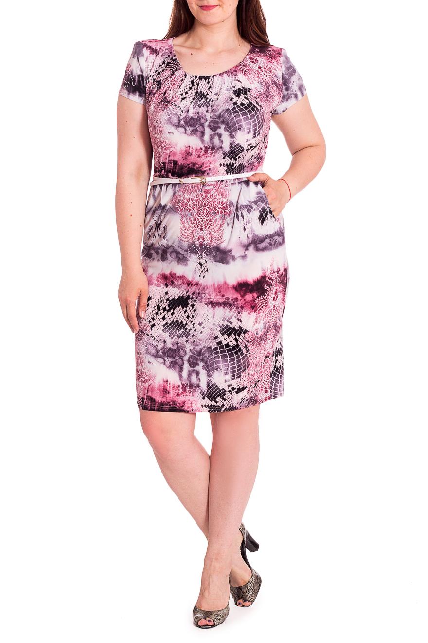 ПлатьеПлатья<br>Цветное платье с круглой горловиной и короткими рукавами. Модель выполнена из приятного трикотажа. Отличный выбор для любого случая.Платье с поясом.В изделии использованы цвета: розовый, фиолетовый и др.Ростовка изделия 168 см.Параметры размеров:44 размер - обхват груди 84 см., обхват талии 72 см., обхват бедер 97 см.46 размер - обхват груди 92 см., обхват талии 76 см., обхват бедер 100 см.48 размер - обхват груди 96 см., обхват талии 80 см., обхват бедер 103 см.50 размер - обхват груди 100 см., обхват талии 84 см., обхват бедер 106 см.52 размер - обхват груди 104 см., обхват талии 88 см., обхват бедер 109 см.54 размер - обхват груди 110 см., обхват талии 94,5 см., обхват бедер 114 см.56 размер - обхват груди 116 см., обхват талии 101 см., обхват бедер 119 см.58 размер - обхват груди 122 см., обхват талии 107,5 см., обхват бедер 124 см.60 размер - обхват груди 128 см., обхват талии 114 см., обхват бедер 129 см.Рост девушки-фотомодели 180 см<br><br>Горловина: С- горловина<br>Длина: Ниже колена<br>Материал: Трикотаж<br>Рисунок: Рептилия,С принтом,Цветные<br>Рукав: Короткий рукав<br>Силуэт: Приталенные<br>Стиль: Летний стиль,Повседневный стиль<br>Форма: Платье - футляр<br>Элементы: С поясом<br>Сезон: Лето<br>Размер : 48,50,52,54<br>Материал: Холодное масло<br>Количество в наличии: 7