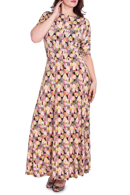 ПлатьеПлатья<br>Чудесное платье в пол с горловиной лодочка и рукавами 3/4. Модель станет прекрасной составляющей Вашего гардероба.  В изделии использованы цвета: желтый, серый, розовый и др.  Рост девушки-фотомодели 180 см<br><br>Горловина: Лодочка<br>По длине: Макси<br>По материалу: Трикотаж<br>По рисунку: С принтом,Цветные<br>По силуэту: Полуприталенные<br>По стилю: Повседневный стиль<br>По форме: Платье - трапеция<br>Рукав: До локтя,Рукав три четверти<br>По сезону: Лето<br>Размер : 46,48,50,52<br>Материал: Холодное масло<br>Количество в наличии: 4