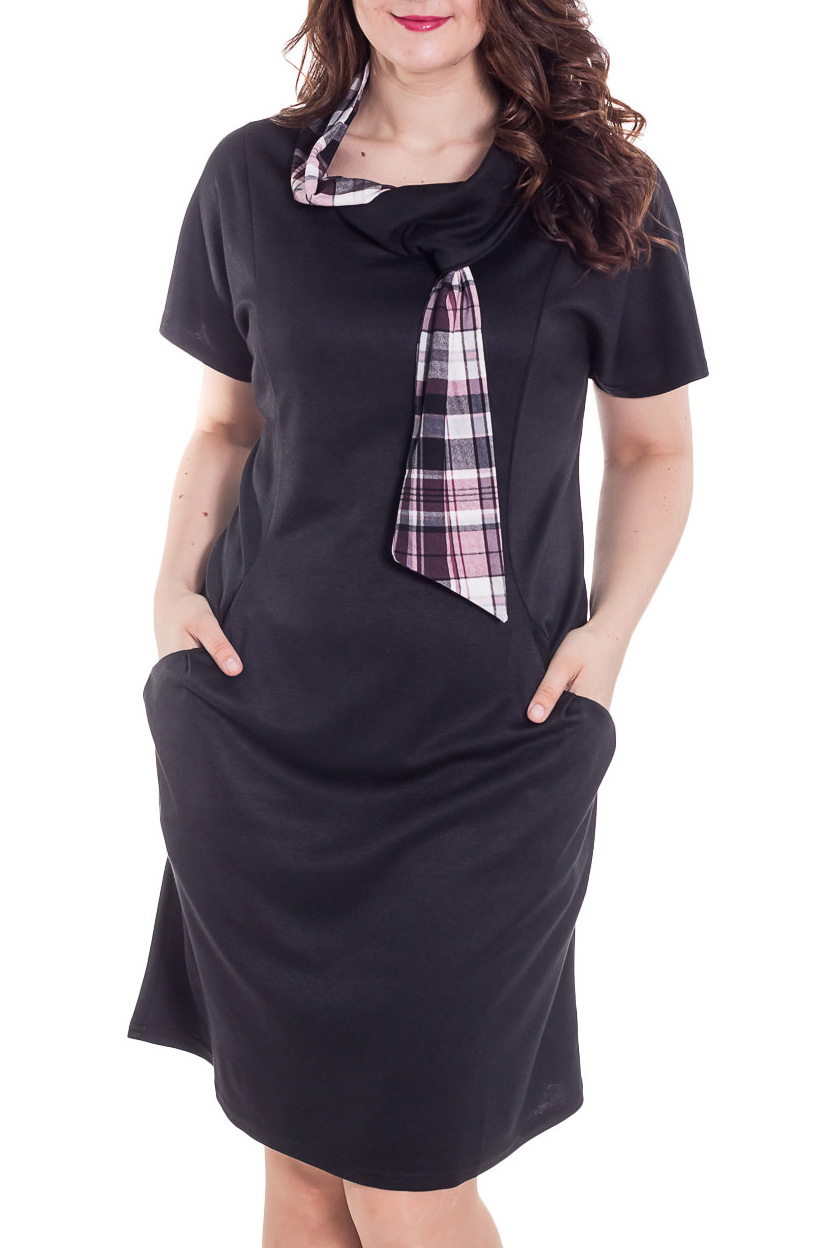 ПлатьеПлатья<br>Платье с коротким рукавом, внутренние карманы, горловина в виде шарфика. Свободный крой модели, позволит свободно чувствовать себя в офисе, на прогулке, на деловой встрече.  Длина изделия 104 см ± 3 см  Цвет: черный, розовый, белый  Рост девушки-фотомодели 180 см<br><br>Воротник: Фантазийный<br>По длине: До колена<br>По материалу: Вискоза,Трикотаж<br>По образу: Город,Свидание<br>По рисунку: Однотонные<br>По силуэту: Полуприталенные<br>По стилю: Повседневный стиль<br>По элементам: С карманами<br>Рукав: Короткий рукав<br>По сезону: Осень,Весна<br>Размер : 54,56,58,60,62,64,66,68<br>Материал: Джерси<br>Количество в наличии: 5