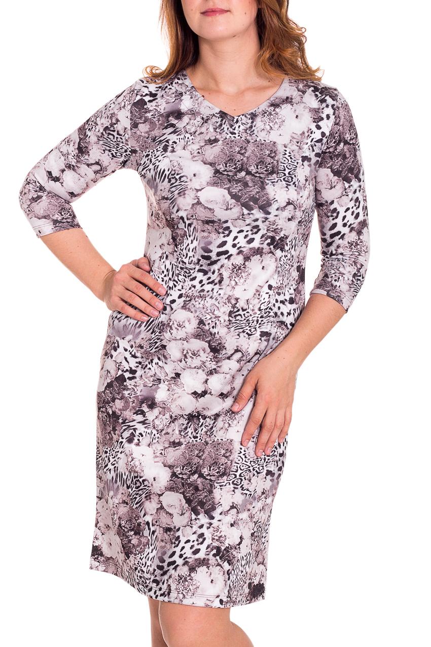 ПлатьеПлатья<br>Красивое женское платье с закругленной горловиной и рукавами 3/4. Модель выполнена из приятного трикотажа. Отличный выбор для повседневного гардероба.  Цвет: белый, дымчатый  Рост девушки-фотомодели 180 см.<br><br>По длине: До колена<br>По материалу: Трикотаж<br>По образу: Город,Свидание<br>По рисунку: Леопард,Растительные мотивы,Цветные,Цветочные,Животные мотивы,С принтом<br>По сезону: Весна,Осень<br>По силуэту: Полуприталенные,Приталенные<br>По стилю: Повседневный стиль<br>По форме: Платье - футляр<br>Рукав: Рукав три четверти<br>Горловина: С- горловина<br>Размер : 48,50,52<br>Материал: Трикотаж<br>Количество в наличии: 9