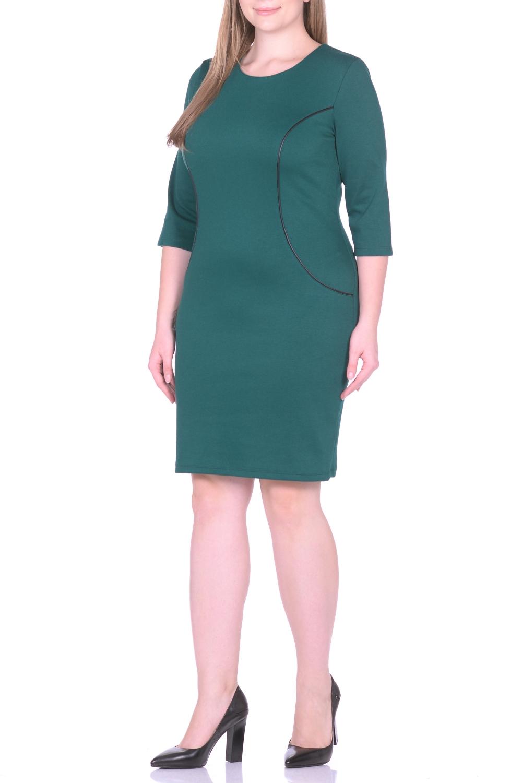 ПлатьеПлатья<br>Просто и со вкусом - это об этом однотонном платье, которое можно купить в нашем интернет-магазине одежды. Полуприлегающий силуэт с классическим круглым вырезом и женственными рукавами три четверти искусно подчеркивает фигуру за счет тальевых вытачек на спине. Нарочитую лаконичность фасона оттеняет декоративная отделка вставок из искусственной кожи, придающая модели динамичность. Платье хорошо сидит и виртуозно обыгрывает фигуру. Дополните его яркими контрастными аксессуарами, и стильный образ готов Ткань - плотный трикотаж, характеризующийся эластичностью, растяжимостью и мягкостью.  Длина изделия по спинке 98 см.  В изделии использованы цвета: зеленый  Рост девушки-фотомодели 170 см.<br><br>Горловина: С- горловина<br>По длине: До колена<br>По материалу: Вискоза,Трикотаж<br>По рисунку: Однотонные<br>По силуэту: Приталенные<br>По стилю: Классический стиль,Кэжуал,Офисный стиль,Повседневный стиль<br>По форме: Платье - футляр<br>Рукав: Рукав три четверти<br>По сезону: Осень,Весна,Зима<br>Размер : 50,52,54,56<br>Материал: Джерси<br>Количество в наличии: 4