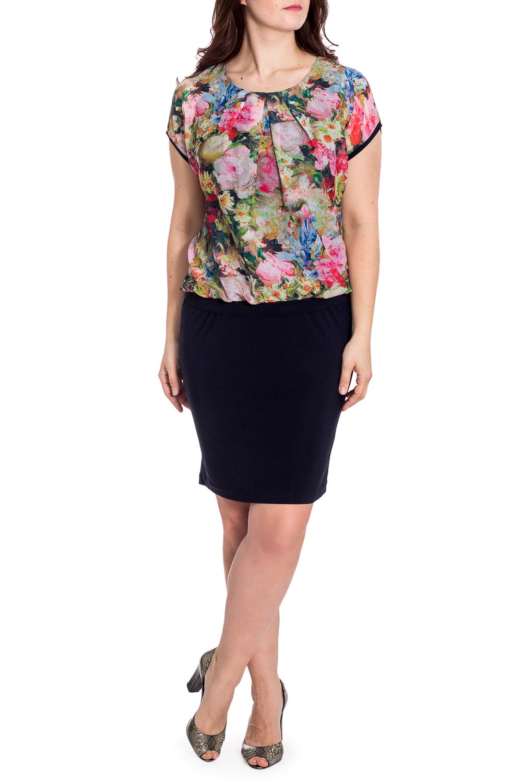 ПлатьеПлатья<br>Великолепное платье с имитацией блузки и юбки. Модель выполнена из приятного трикотажа. Отличный выбор для любого случая.  В изделии использованы цвета: темно-синий и др.  Рост девушки-фотомодели 180 см.<br><br>Горловина: С- горловина<br>По длине: До колена<br>По материалу: Трикотаж,Шифон<br>По рисунку: Растительные мотивы,С принтом,Цветные,Цветочные<br>По сезону: Весна,Зима,Лето,Осень,Всесезон<br>По силуэту: Полуприталенные<br>По стилю: Нарядный стиль,Повседневный стиль<br>По элементам: Со складками<br>Рукав: Короткий рукав<br>Размер : 48,52,54,56,58<br>Материал: Холодное масло + Шифон<br>Количество в наличии: 5