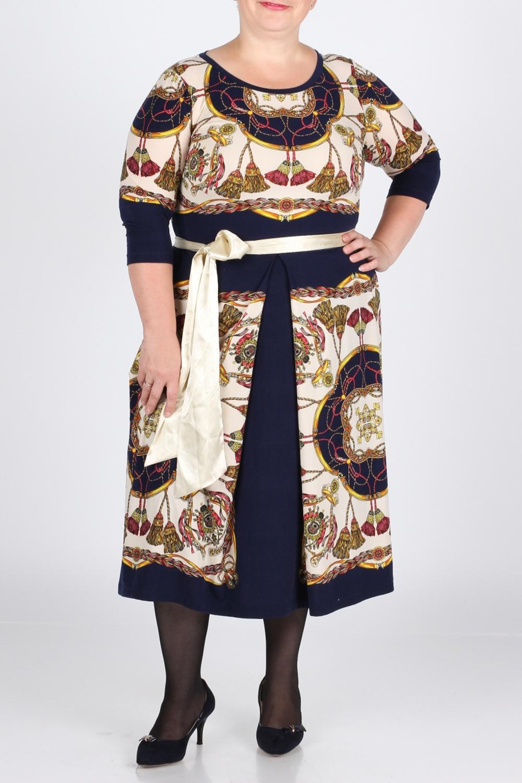 ПлатьеПлатья<br>Очень красивое платье из мягкого трикотажного итальянского полотна с ярким принтом.  Приталенное сверху и клешёное внизу.  Спереди и сзади две встречные складки. Платье без пояса   Длина изделия по спинке - 105 см.  Цвет: синий, бежевый, желтый, красный  Рост девушки-фотомодели 164 см.<br><br>Горловина: С- горловина<br>По длине: Ниже колена<br>По материалу: Вискоза,Трикотаж<br>По рисунку: Абстракция,Цветные<br>По сезону: Весна,Осень,Зима<br>По силуэту: Полуприталенные<br>По стилю: Повседневный стиль<br>По форме: Платье - трапеция<br>Рукав: Рукав три четверти<br>Размер : 52<br>Материал: Трикотаж<br>Количество в наличии: 1