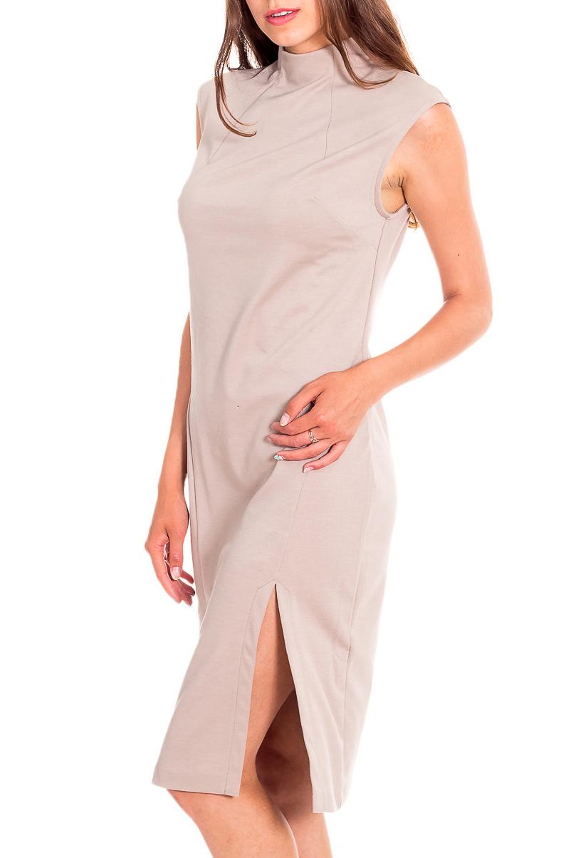 ПлатьеПлатья<br>Красивое платье красного цвета. Этот оттенок красного называется «Скарлет». Платье без рукавов с высокой горловиной с тремя пуговицами на спине и разрезом внизу. Преимуществом платья с разрезом является его способность превращать обычную женщину в уверенную в себе леди, харизматичную и чувственную особу, притягивающую к себе взгляды окружающих.  Параметры размеров: Обхват груди размер 42 - 84 см, размер 44 - 88 см, размер 46 - 92 см, размер 48 - 96 см, размер 50 - 100 см, размер 52 - 104 см Обхват талии размер 42 - 64 см, размер 44 - 68 см, размер 46 - 72 см, размер 48 - 76 см, размер 50 - 80 см, размер 52 - 84 см Обхват бедер размер 42 - 92 см, размер 44 - 96 см, размер 46 - 100 см, размер 48 - 104 см, размер 50 - 108 см, размер 52 - 112 см  Цвет: бежевый  Рост девушки-фотомодели 170 см.<br><br>Воротник: Стойка<br>По длине: До колена<br>По материалу: Вискоза,Трикотаж<br>По рисунку: Однотонные<br>По силуэту: Приталенные<br>По стилю: Повседневный стиль<br>По форме: Платье - футляр<br>По элементам: С разрезом<br>Разрез: Короткий<br>Рукав: Без рукавов<br>По сезону: Осень,Весна<br>Размер : 44,46,48,50,52<br>Материал: Джерси<br>Количество в наличии: 8
