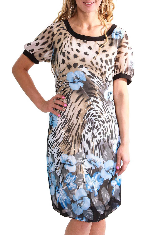 ПлатьеПлатья<br>Летнее платье из легкого шифона.<br><br>Горловина: С- горловина<br>По материалу: Вискоза,Шифон<br>По рисунку: Леопард,Растительные мотивы,Цветные,Цветочные,С принтом<br>По сезону: Лето<br>Рукав: Короткий рукав<br>По силуэту: Свободные<br>По стилю: Повседневный стиль<br>По длине: До колена<br>По форме: Платье - баллон<br>По элементам: С манжетами,С подкладом<br>Размер : 46<br>Материал: Шифон<br>Количество в наличии: 1