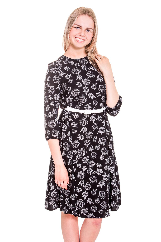 ПлатьеПлатья<br>Красивое платье с круглой горловиной и рукавами 3/4. Модель выполнена из приятного материала. Отличный выбор для повседневного гардероба. Платье без пояса.  В изделии использованы цвета: черный, белый  Рост девушки-фотомодели 170 см<br><br>Горловина: С- горловина<br>По длине: До колена<br>По материалу: Вискоза,Тканевые<br>По образу: Город<br>По рисунку: Растительные мотивы,С принтом,Цветные,Цветочные<br>По сезону: Лето,Осень,Весна<br>По силуэту: Полуприталенные<br>По стилю: Повседневный стиль<br>По форме: Платье - трапеция<br>Рукав: Рукав три четверти<br>Размер : 42,44,46,48<br>Материал: Вискоза<br>Количество в наличии: 4