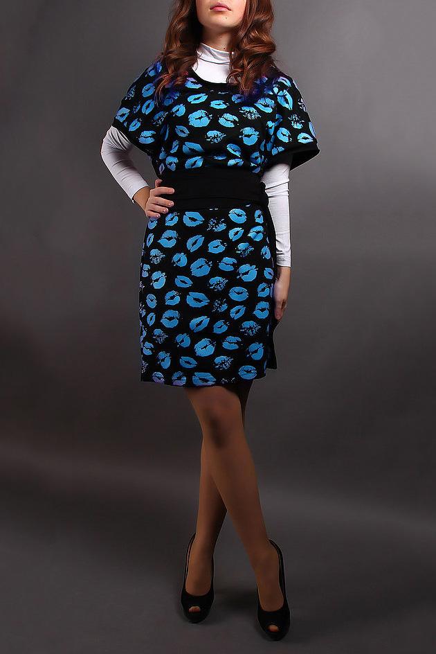 СарафанСарафаны<br>Цветное платье с короткими рукавами. Модель выполнена из приятного материала. Отличный выбор для повседневного гардероба. Платье без водолазки и пояса.  В изделии использованы цвета: черный, голубой  Ростовка изделия 164-170 см.<br><br>Горловина: С- горловина<br>По длине: До колена<br>По материалу: Трикотаж<br>По рисунку: С принтом,Цветные<br>По сезону: Зима,Осень,Весна<br>По силуэту: Полуприталенные<br>По стилю: Повседневный стиль<br>Размер : 50-52<br>Материал: Трикотаж<br>Количество в наличии: 1