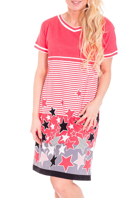 ПлатьеПлатья<br>Домашнее платье с V-образной горловиной и короткими рукавами. Домашняя одежда, прежде всего, должна быть удобной, практичной и красивой. В платье Вы будете чувствовать себя комфортно, особенно, по вечерам после трудового дня.  Цвет: коралловый, белый, черный  Рост девушки-фотомодели 170 см.<br><br>По стилю: Повседневные<br>По материалу: Хлопковые<br>По рисунку: В полоску,Цветные<br>По сезону: Весна,Осень<br>По силуэту: Полуприталенные<br>По форме: Платья<br>По длине: Миди<br>Рукав: Короткий рукав<br>Горловина: V- горловина<br>Размер: 44<br>Материал: 100% хлопок<br>Количество в наличии: 2