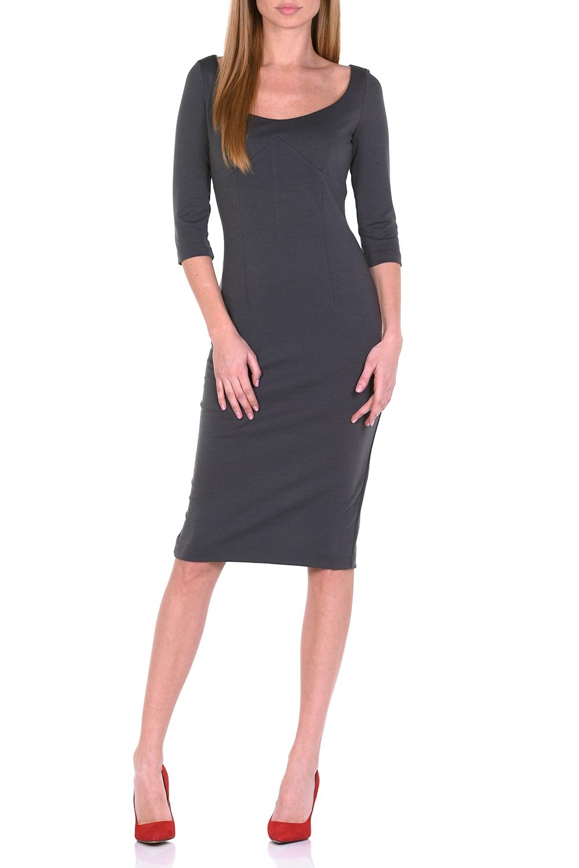 ПлатьеПлатья<br>Образец женственности – однотонное платье миди. Нарочитая лаконичность фасона и однотонная расцветка непроизвольно привлекают внимание и акцентируют его на женственной элегантности Вашего образа. Узкий покрой эффектно повторяет женственные изгибы, а благодаря тальевым вытачкам спереди и сзади обеспечивается оптимальная посадка платья. Глубокий круглый вырез спереди искусно подчеркивает обольстительное декольте и, как магнит, притягивает восторженные взгляды. Для удобства ходьбы сзади расположена шлица. Рукав 3/4. Офисные будни, торжественное мероприятие, вечеринка, свидание – это платье подходит для любого повода   Длина изделия 107-110 см.  В изделии использованы цвета: серый  Ростовка изделия 170 см.<br><br>Горловина: С- горловина<br>По длине: Ниже колена<br>По материалу: Трикотаж<br>По рисунку: Однотонные<br>По сезону: Зима,Осень,Весна<br>По силуэту: Приталенные<br>По стилю: Классический стиль,Кэжуал,Повседневный стиль<br>По форме: Платье - футляр<br>По элементам: С разрезом<br>Разрез: Короткий,Шлица<br>Рукав: Рукав три четверти<br>Размер : 44,46,48,50<br>Материал: Трикотаж<br>Количество в наличии: 4