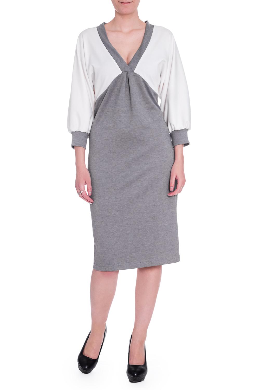 ПлатьеПлатья<br>Прелестное платье с V-образной горловиной и рукавами 3/4. Модель выполнена из плотного трикотажа. Отличный выбор для повседневного гардероба.  В изделии использованы цвета: серый, белый  Ростовка изделия 170 см.<br><br>Горловина: V- горловина<br>По длине: Ниже колена<br>По материалу: Трикотаж<br>По рисунку: Цветные<br>По сезону: Зима,Осень,Весна<br>По силуэту: Полуприталенные<br>По стилю: Повседневный стиль<br>По элементам: С завышенной талией,С манжетами<br>Рукав: Рукав три четверти<br>Размер : 42-44,46-48<br>Материал: Трикотаж<br>Количество в наличии: 2