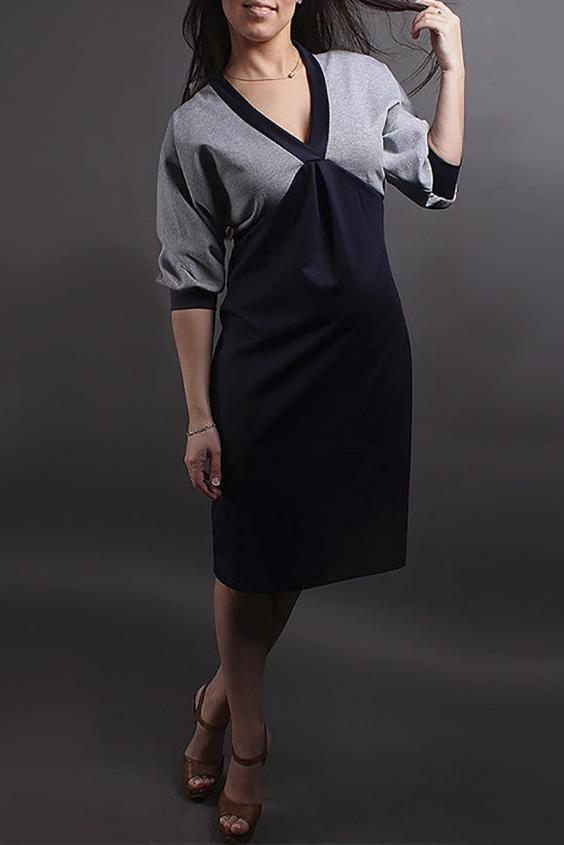 ПлатьеПлатья<br>Прелестное платье с V-образной горловиной и рукавами 3/4. Модель выполнена из плотного трикотажа. Отличный выбор для повседневного гардероба.  В изделии использованы цвета: темно-синий, серый  Ростовка изделия 170 см.<br><br>Горловина: V- горловина<br>По длине: Ниже колена<br>По материалу: Трикотаж<br>По рисунку: Цветные<br>По силуэту: Полуприталенные<br>По стилю: Повседневный стиль<br>По элементам: С завышенной талией,С манжетами<br>Рукав: Рукав три четверти<br>По сезону: Осень,Весна,Зима<br>Размер : 42-44<br>Материал: Трикотаж<br>Количество в наличии: 1