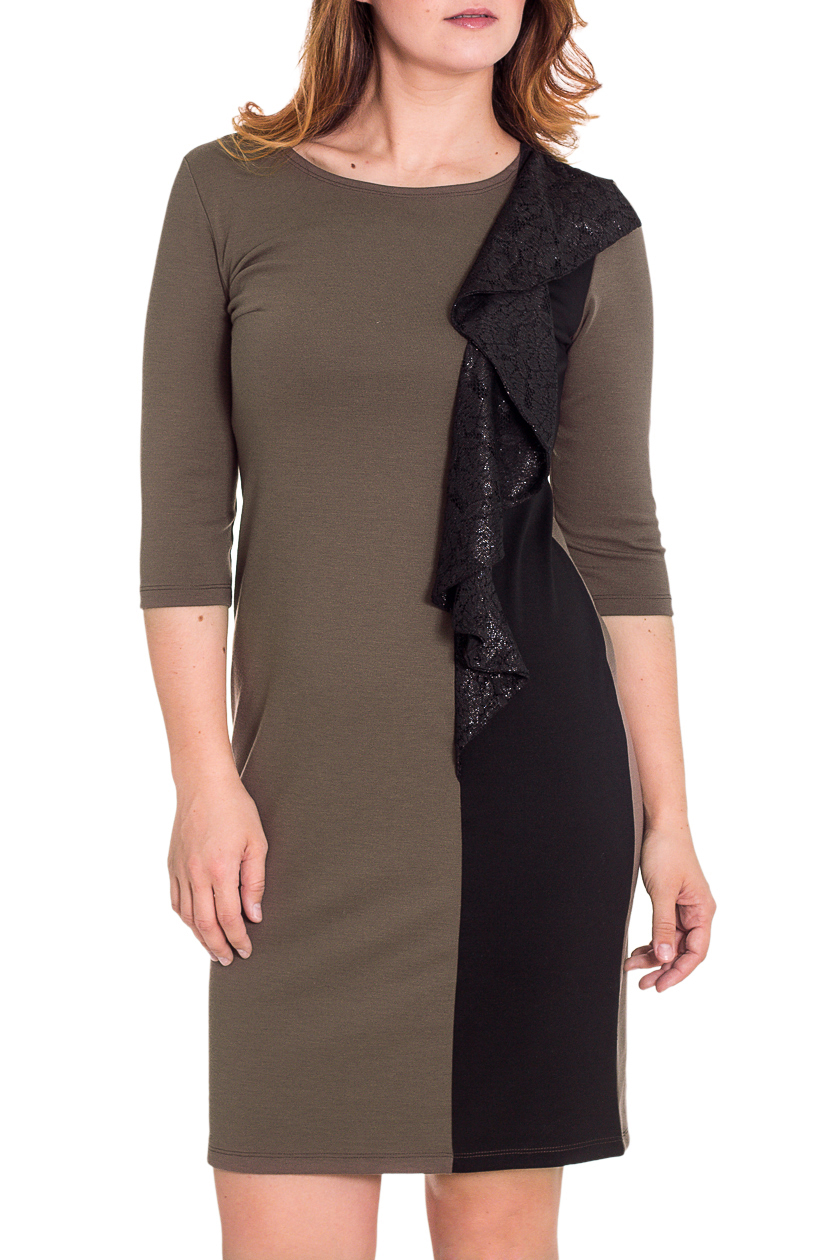 ПлатьеПлатья<br>Нарядное женское платье с круглой горловиной и рукавами 3/4. Модель выполнена из плотного трикотажа и ажурного гипюра. Отличный выбор для любого случая.  Цвет: бежевый, коричневый  Рост девушки-фотомодели 180 см.<br><br>Горловина: С- горловина<br>По длине: До колена<br>По материалу: Вискоза,Гипюр,Трикотаж<br>По сезону: Весна,Осень,Зима<br>По силуэту: Полуприталенные<br>По стилю: Повседневный стиль<br>По форме: Платье - футляр<br>По элементам: С воланами и рюшами<br>Рукав: Рукав три четверти<br>По рисунку: Цветные<br>Размер : 46,48,50,52<br>Материал: Джерси + Гипюр<br>Количество в наличии: 9