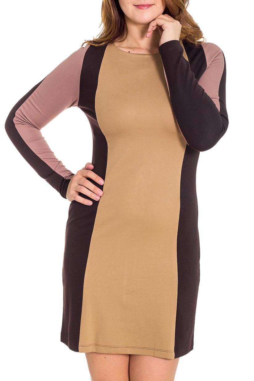 ПлатьеПлатья<br>Красивое женское платье с круглой горловиной и длинными рукавами. Модель выполнена из плотного трикотажа. Отличный выбор для повседневного гардероба.  Цвет: бежевый, коричневый  Рост девушки-фотомодели 180 см.<br><br>Горловина: С- горловина<br>По длине: До колена<br>По материалу: Вискоза,Трикотаж<br>По рисунку: Цветные<br>По сезону: Весна,Осень,Зима<br>По силуэту: Полуприталенные<br>По стилю: Повседневный стиль<br>По форме: Платье - футляр<br>Рукав: Длинный рукав<br>Размер : 44,46,50<br>Материал: Джерси<br>Количество в наличии: 3