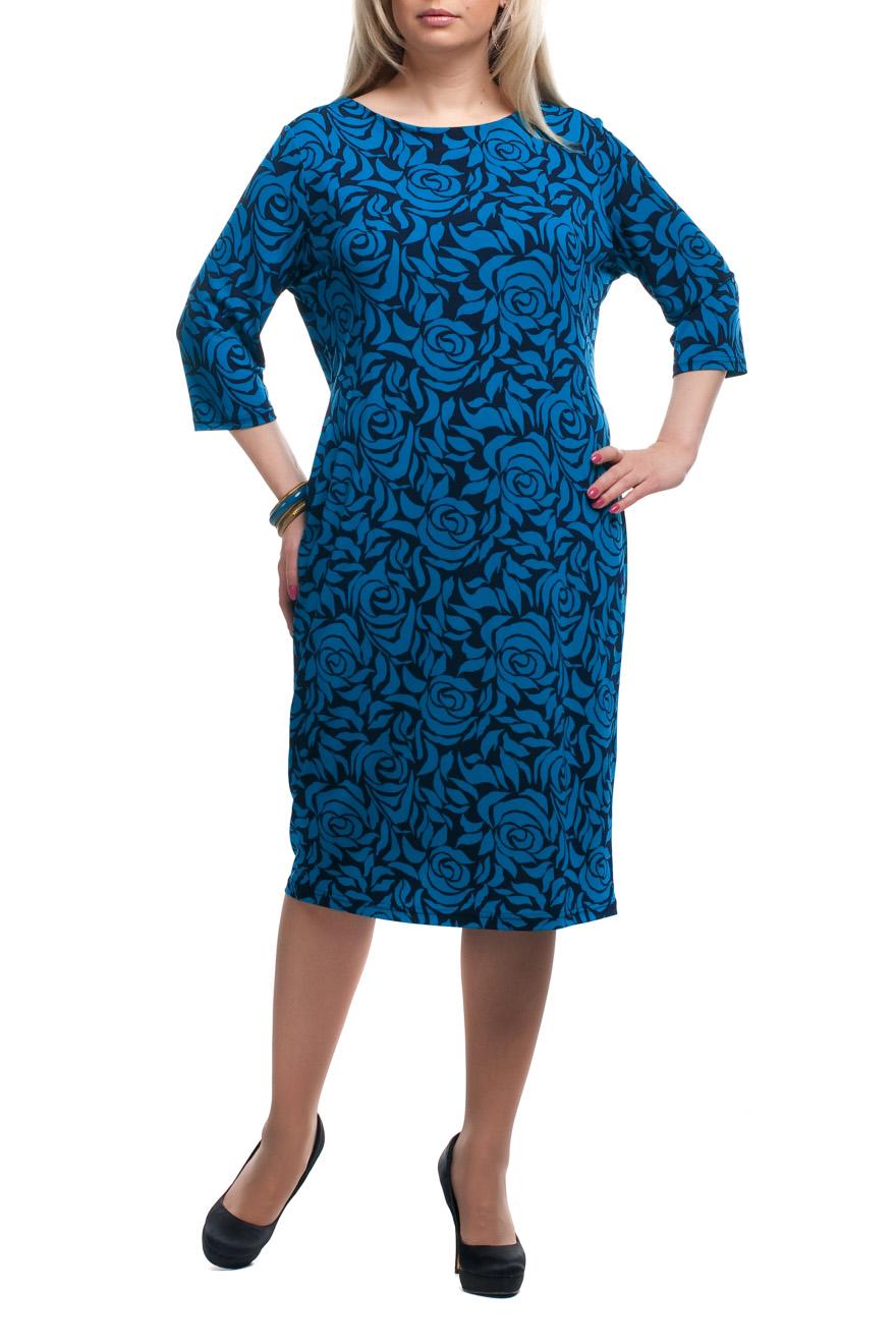 ПлатьеПлатья<br>Чудесное платье с круглой горловиной и рукавами 3/4. Модель выполнена из приятного трикотажа. Отличный выбор для повседневного гардероба.  Цвет: синий, черный  Рост девушки-фотомодели 173 см.<br><br>Горловина: С- горловина<br>По длине: Ниже колена<br>По материалу: Трикотаж<br>По рисунку: Растительные мотивы,С принтом,Цветные,Цветочные<br>По силуэту: Полуприталенные<br>По стилю: Повседневный стиль<br>По форме: Платье - футляр<br>Рукав: Рукав три четверти<br>По сезону: Осень,Весна,Зима<br>Размер : 52,54,56,58,62,64,66,68,70<br>Материал: Трикотаж<br>Количество в наличии: 21