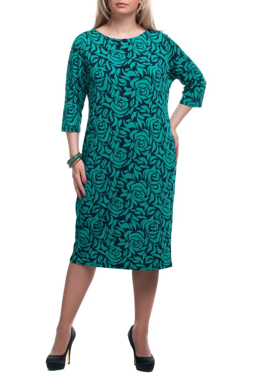 ПлатьеПлатья<br>Чудесное платье с круглой горловиной и рукавами 3/4. Модель выполнена из приятного трикотажа. Отличный выбор для повседневного гардероба.  Цвет: бирюзовый, черный  Рост девушки-фотомодели 173 см.<br><br>Горловина: С- горловина<br>По длине: Ниже колена<br>По материалу: Трикотаж<br>По рисунку: Растительные мотивы,С принтом,Цветные,Цветочные<br>По силуэту: Полуприталенные<br>По стилю: Повседневный стиль<br>По форме: Платье - футляр<br>Рукав: Рукав три четверти<br>По сезону: Осень,Весна,Зима<br>Размер : 52,56,60,62,64,66,68,70<br>Материал: Трикотаж<br>Количество в наличии: 34