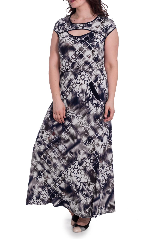 ПлатьеПлатья<br>Летнее платье в пол с декоративным вырезом на груди. Модель выполнена из приятного материала. Отличный выбор для любого случая.  В изделии использованы цвета: белый, синий, коричневый и др.  Рост девушки-фотомодели 180 см<br><br>Горловина: С- горловина<br>По длине: Макси<br>По материалу: Трикотаж<br>По рисунку: С принтом,Цветные<br>По силуэту: Полуприталенные<br>По стилю: Летний стиль,Повседневный стиль<br>По форме: Платье - трапеция<br>По элементам: С карманами<br>Рукав: Короткий рукав<br>По сезону: Лето<br>Размер : 54<br>Материал: Холодное масло<br>Количество в наличии: 1