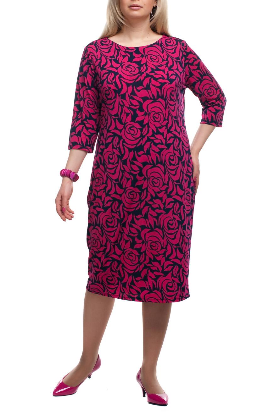 ПлатьеПлатья<br>Чудесное платье с круглой горловиной и рукавами 3/4. Модель выполнена из приятного трикотажа. Отличный выбор для повседневного гардероба.  Цвет: розовый, черный  Рост девушки-фотомодели 173 см.<br><br>Горловина: С- горловина<br>По длине: Ниже колена<br>По материалу: Трикотаж<br>По рисунку: Растительные мотивы,С принтом,Цветные,Цветочные<br>По силуэту: Полуприталенные<br>По стилю: Повседневный стиль<br>По форме: Платье - футляр<br>Рукав: Рукав три четверти<br>По сезону: Осень,Весна,Зима<br>Размер : 52,54,56,58,60,62,64,66,68,70<br>Материал: Трикотаж<br>Количество в наличии: 43