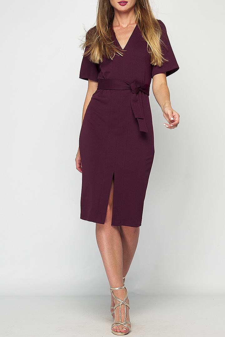 ПлатьеПлатья<br>Бордовое платье прилегающего силуэта из плотного трикотажного материала, имеет V- образный вырез горловины и рукав до логтя, расклешенный к низу. Это платье сделает любой Ваш образ стильным и женственным. Платье без пояса.Параметры изделия: 44 размер: обхват груди - 90 см, обхват бедер - 94 см, длина рукава - 27 см, длина изделия - 106 см; 52 размер: обхват груди - 102 см, обхват бедер - 108 см, длина рукава - 27 см, длина изделия - 111 см. Цвет: бордовый.Рост девушки-фотомодели 175 см<br><br>Горловина: V- горловина<br>Разрез: Короткий<br>Рукав: До локтя,Короткий рукав<br>Длина: Ниже колена<br>Материал: Трикотаж<br>Рисунок: Однотонные<br>Сезон: Весна,Осень<br>Силуэт: Полуприталенные<br>Стиль: Классический стиль,Кэжуал,Офисный стиль,Повседневный стиль<br>Форма: Платье - футляр<br>Элементы: С вырезом,С разрезом<br>Размер : 42<br>Материал: Трикотаж<br>Количество в наличии: 1