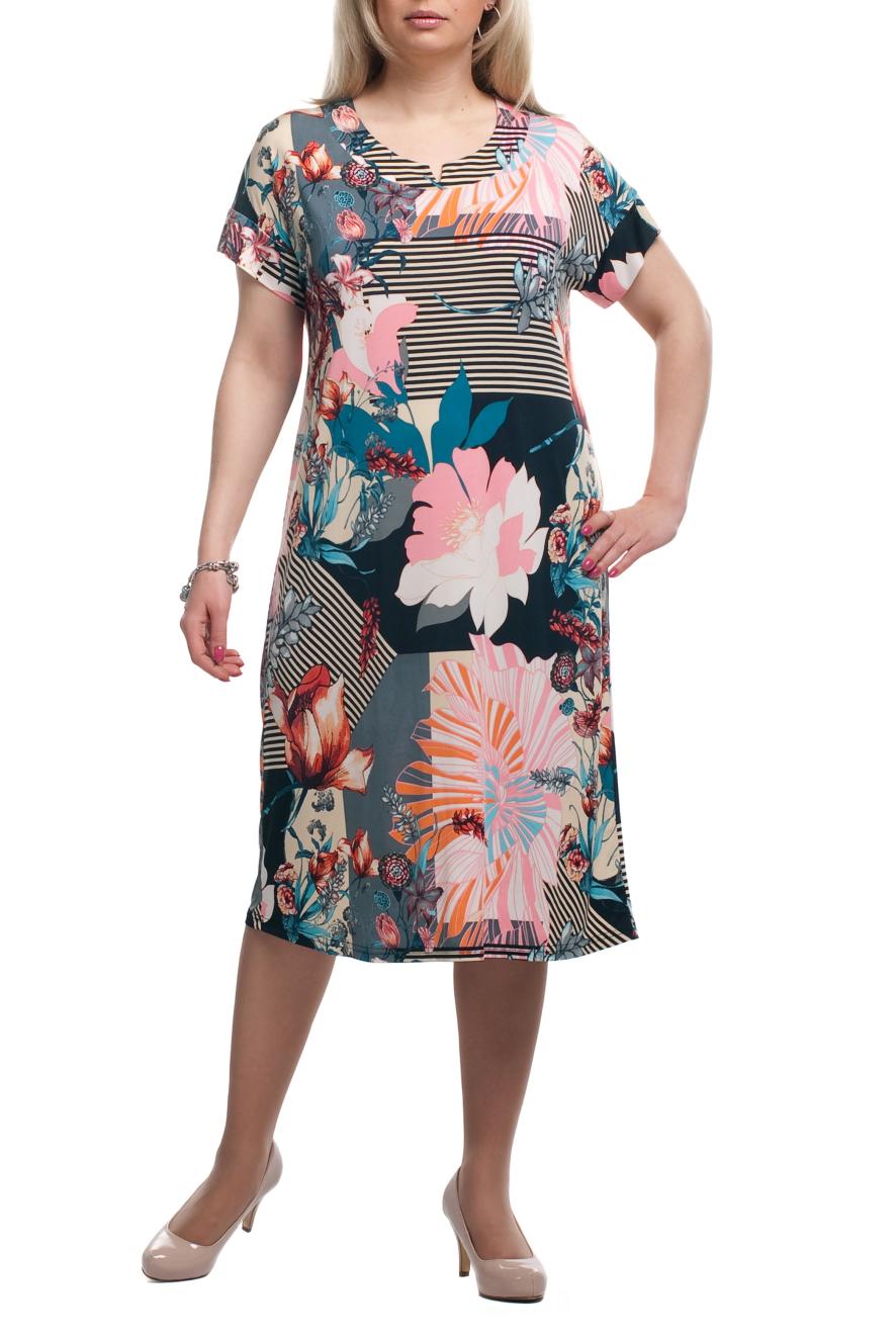 ПлатьеПлатья<br>Яркое женское платье с короткими рукавами. Модель выполнена из приятного трикотажа. Отличный выбор для летнего гардероба.  Раскладка принта на изделии может отличаться от картинки.  Цвет: светло-бежевый, черный, розовый, голубой  Рост девушки-фотомодели 173 см.<br><br>Горловина: С- горловина<br>По длине: Ниже колена<br>По материалу: Трикотаж<br>По образу: Город,Свидание<br>По рисунку: Абстракция,В полоску,Растительные мотивы,С принтом,Цветные,Цветочные<br>По силуэту: Полуприталенные<br>По стилю: Повседневный стиль<br>По форме: Платье - трапеция<br>Рукав: Короткий рукав<br>По сезону: Лето<br>Размер : 52,60,62,66,68<br>Материал: Холодное масло<br>Количество в наличии: 6