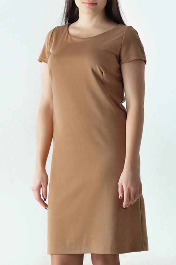 ПлатьеПлатья<br>Женское платье с круглой горловиной и короткими рукавами. Модель выполнена из приятного трикотажа. Отличный выбор для повседневного гардероба.  Цвет: бежевый  Рост девушки-фотомодели 170 см.<br><br>Горловина: С- горловина<br>По длине: До колена<br>По материалу: Вискоза,Трикотаж<br>По рисунку: Однотонные<br>По сезону: Весна,Осень<br>По силуэту: Полуприталенные<br>По стилю: Офисный стиль,Повседневный стиль,Классический стиль,Кэжуал<br>По форме: Платье - футляр<br>Рукав: Короткий рукав<br>Размер : 44,46,48,50<br>Материал: Джерси<br>Количество в наличии: 9