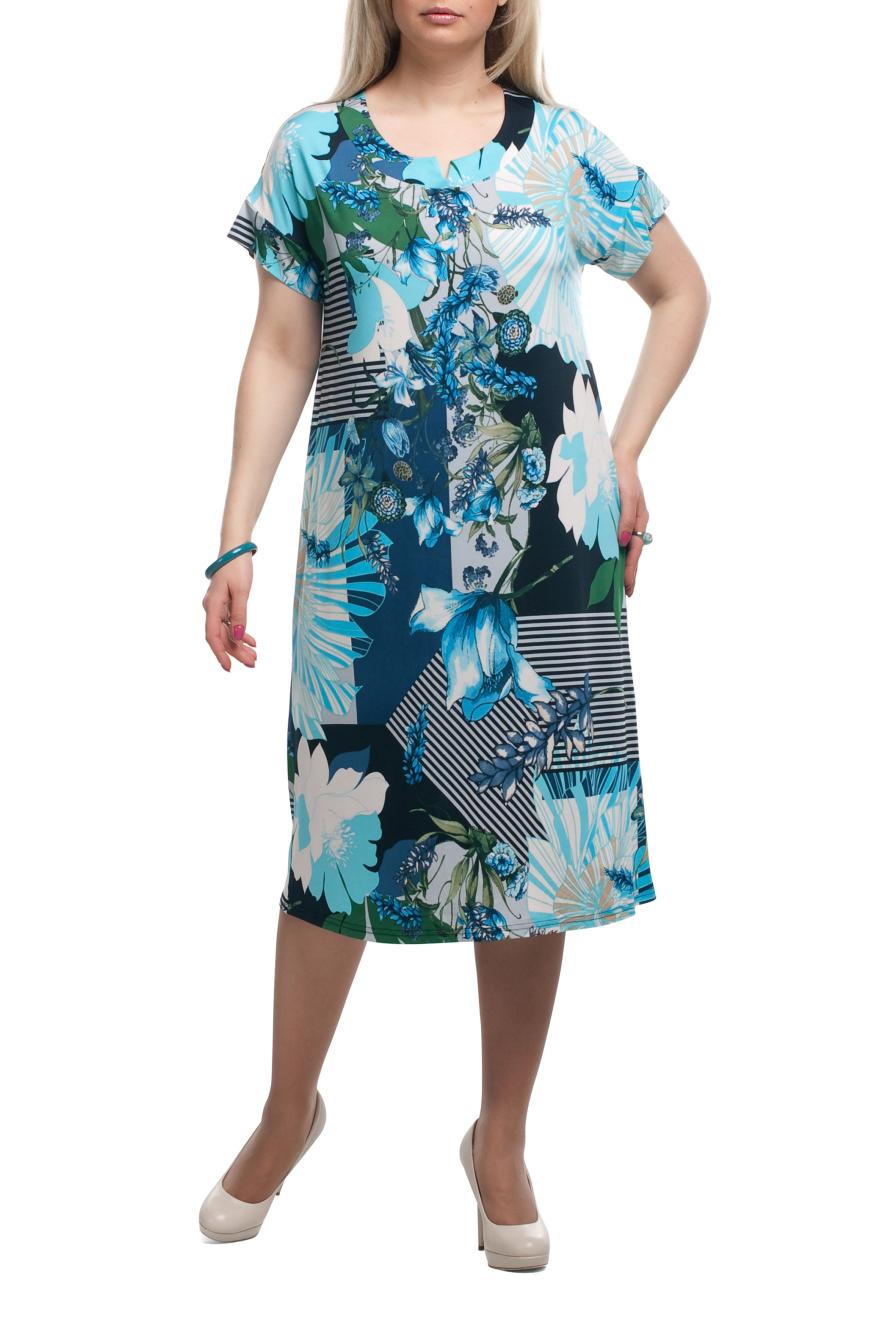ПлатьеПлатья<br>Яркое женское платье с короткими рукавами. Модель выполнена из приятного трикотажа. Отличный выбор для летнего гардероба.  Раскладка принта на изделии может отличаться от картинки.  Цвет: голубой, синий, черный, белый  Рост девушки-фотомодели 173 см.<br><br>Горловина: С- горловина<br>По длине: Ниже колена<br>По материалу: Трикотаж<br>По рисунку: Абстракция,В полоску,Растительные мотивы,С принтом,Цветные,Цветочные<br>По силуэту: Полуприталенные<br>По стилю: Повседневный стиль,Летний стиль<br>По форме: Платье - трапеция<br>Рукав: Короткий рукав<br>По сезону: Лето<br>Размер : 52,54,56<br>Материал: Холодное масло<br>Количество в наличии: 4