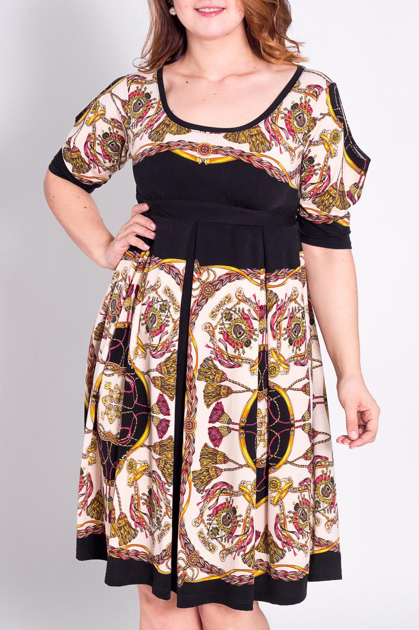 ПлатьеПлатья<br>Очень красивое платье из мягкого трикотажного итальянского полотна с ярким принтом.  Приталенное сверху и клешёное внизу.  Спереди и сзади две встречные складки. Украшено атласным поясом.   Длина изделия по спинке - 105 см.  Цвет: белый, черный, желтый, красный  Рост девушки-фотомодели 180 см.<br><br>Горловина: С- горловина<br>По длине: Ниже колена<br>По материалу: Вискоза,Трикотаж<br>По рисунку: Абстракция,Цветные<br>По сезону: Весна,Осень,Зима<br>По силуэту: Полуприталенные<br>По стилю: Повседневный стиль<br>По форме: Платье - трапеция<br>По элементам: С поясом<br>Рукав: Рукав три четверти<br>Размер : 50<br>Материал: Трикотаж<br>Количество в наличии: 1