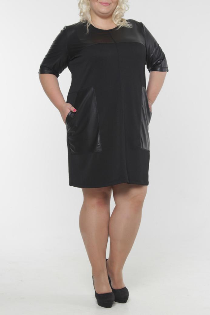 ПлатьеПлатья<br>Прекрасное платье с круглой горловиной и рукавами до локтя. Модель выполнена из плотного трикотажа со вставками из искусственной кожи. Отличный выбор для любого случая.  Длина изделия в 64 размере - 102 см.  Цвет: черный  Рост девушки-фотомодели 180 см<br><br>Горловина: С- горловина<br>По длине: До колена<br>По материалу: Трикотаж<br>По рисунку: Однотонные<br>По сезону: Весна,Осень,Зима<br>По стилю: Байкерский стиль,Офисный стиль,Повседневный стиль,Кэжуал<br>По элементам: С карманами,С кожаными вставками<br>Рукав: До локтя<br>По силуэту: Прямые<br>Размер : 56,58,62<br>Материал: Трикотаж + Искусственная кожа<br>Количество в наличии: 3