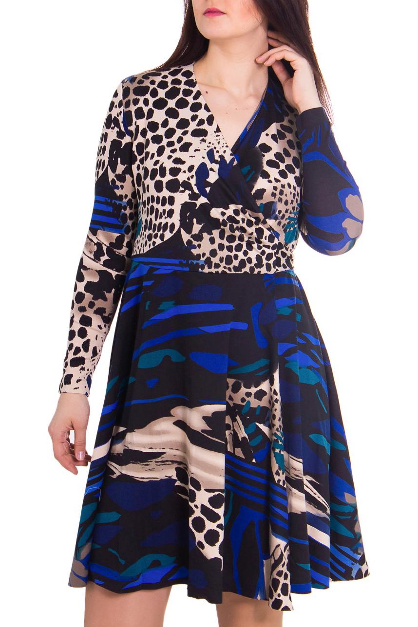 ПлатьеПлатья<br>Женское платье с V-образной горловиной и длинными рукавами. Модель выполнена из приятного трикотажа. Отличный выбор для повседневного гардероба.  Цвет: черный, бежевый, синий  Рост девушки-фотомодели 180 см<br><br>Горловина: V- горловина,Запах<br>По рисунку: Абстракция,Леопард,Цветные,С принтом<br>По сезону: Весна,Зима,Осень<br>Рукав: Длинный рукав<br>По материалу: Трикотаж<br>По стилю: Повседневный стиль<br>По длине: До колена<br>По силуэту: Приталенные<br>По форме: Платье - трапеция<br>Размер : 48,50,52<br>Материал: Джерси<br>Количество в наличии: 8