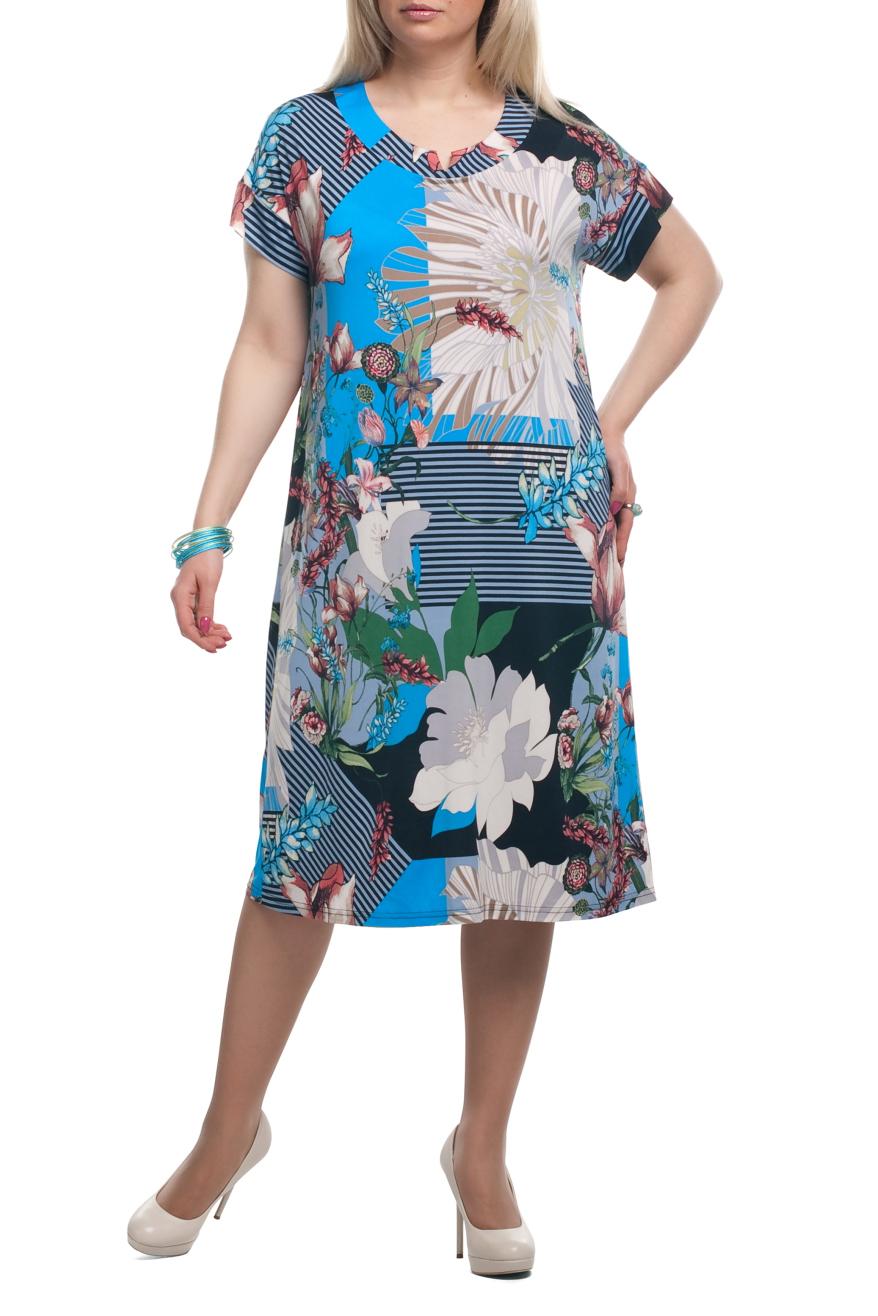 ПлатьеПлатья<br>Яркое женское платье с короткими рукавами. Модель выполнена из приятного трикотажа. Отличный выбор для летнего гардероба.  Раскладка принта на изделии может отличаться от картинки.  Цвет: голубой, серый, синий, черный, белый  Рост девушки-фотомодели 173 см.<br><br>Горловина: С- горловина<br>По длине: Ниже колена<br>По материалу: Трикотаж<br>По рисунку: Абстракция,В полоску,Растительные мотивы,С принтом,Цветные,Цветочные<br>По силуэту: Полуприталенные<br>По стилю: Повседневный стиль,Летний стиль<br>По форме: Платье - трапеция<br>Рукав: Короткий рукав<br>По сезону: Лето<br>Размер : 52,54,60<br>Материал: Холодное масло<br>Количество в наличии: 5