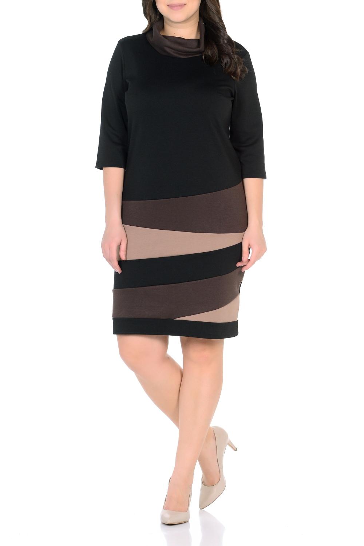 ПлатьеПлатья<br>Элегантное платье-миди – универсальная вещь в Вашем гардеробе. Комбинированный, асимметричный рисунок. Воротник-хомут – ультрамодный тренд – зрительно удлиняет шею и отвлекает внимание от области груди. Рукав 3/4.  Длина изделия 98-100 см.  В изделии использованы цвета: черный, бежевый, коричневый  Ростовка изделия 170 см.<br><br>Воротник: Хомут<br>По длине: До колена<br>По материалу: Трикотаж<br>По рисунку: Цветные<br>По сезону: Зима,Осень,Весна<br>По силуэту: Приталенные<br>По стилю: Повседневный стиль<br>По форме: Платье - футляр<br>Рукав: Рукав три четверти<br>Размер : 50<br>Материал: Трикотаж<br>Количество в наличии: 1