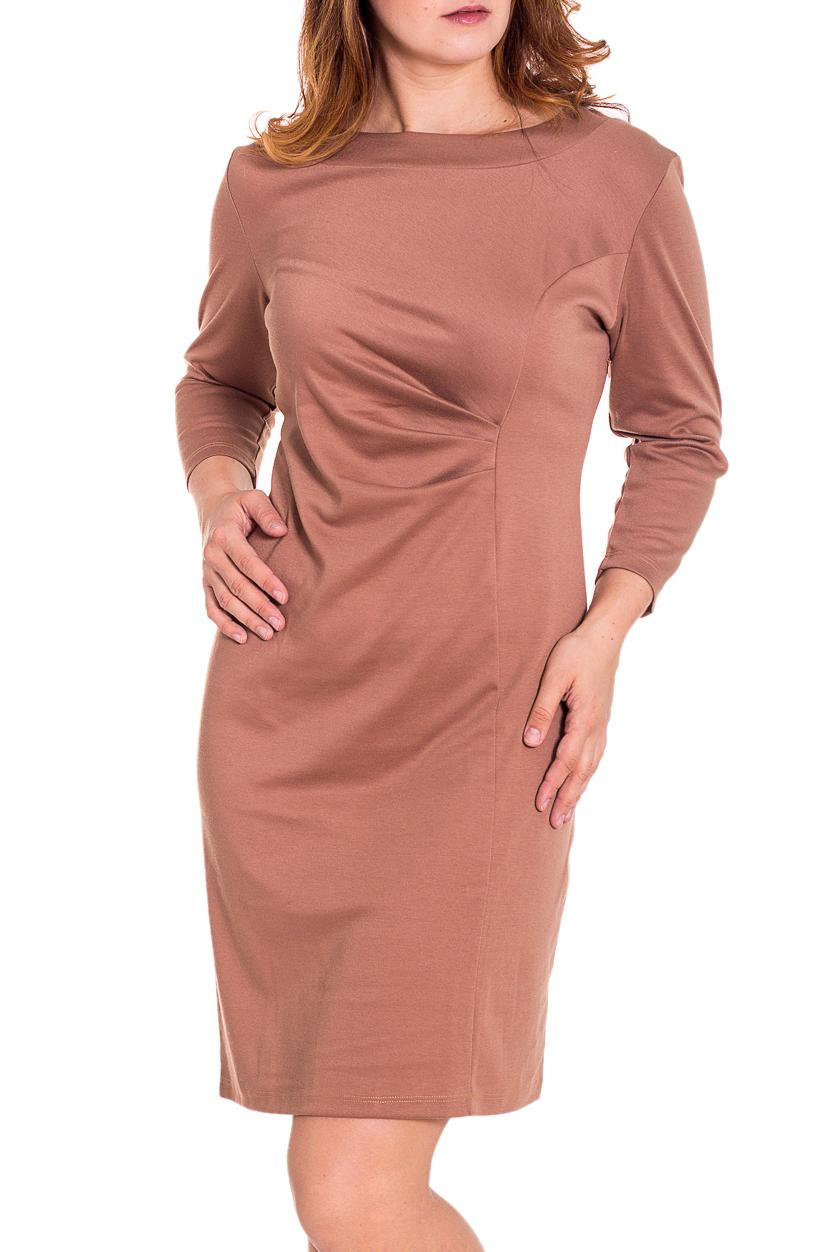 ПлатьеПлатья<br>Женское платье с круглой горловиной и рукавами 3/4. Модель выполнена из приятного трикотажа. Отличный выбор для повседневного гардероба.  Цвет: бежевый  Рост девушки-фотомодели 180 см.<br><br>Горловина: С- горловина<br>По длине: До колена<br>По материалу: Вискоза,Трикотаж<br>По образу: Город,Офис,Свидание<br>По рисунку: Однотонные<br>По силуэту: Полуприталенные<br>По стилю: Офисный стиль,Повседневный стиль<br>По форме: Платье - футляр<br>По элементам: Со складками<br>Рукав: Рукав три четверти<br>По сезону: Осень,Весна<br>Размер : 52,54,58<br>Материал: Джерси<br>Количество в наличии: 3