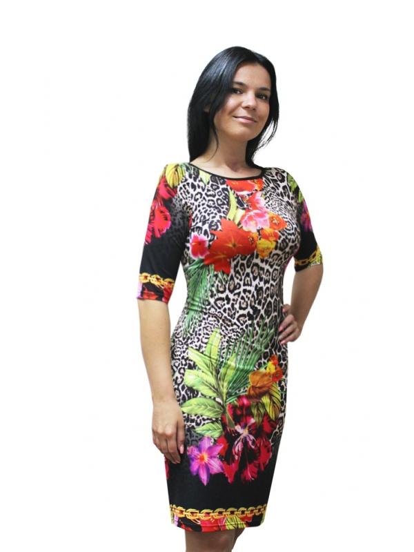 ПлатьеПлатья<br>Стильное женское платье из приятной струящейся ткани. Длина рукава до локтя. Цвет: на черном фоне леопардовые пятна и цветы.<br><br>Горловина: С- горловина<br>По длине: До колена<br>По материалу: Вискоза,Трикотаж<br>По образу: Свидание<br>По рисунку: Леопард,Растительные мотивы,С принтом,Цветные,Цветочные,Неоновые,Животные мотивы<br>По сезону: Весна,Лето,Осень<br>По силуэту: Приталенные<br>По стилю: Летний стиль,Повседневный стиль<br>По форме: Платье - футляр<br>Рукав: До локтя<br>Размер : 44,46,48,50,52,54,56,58<br>Материал: Холодное масло<br>Количество в наличии: 18
