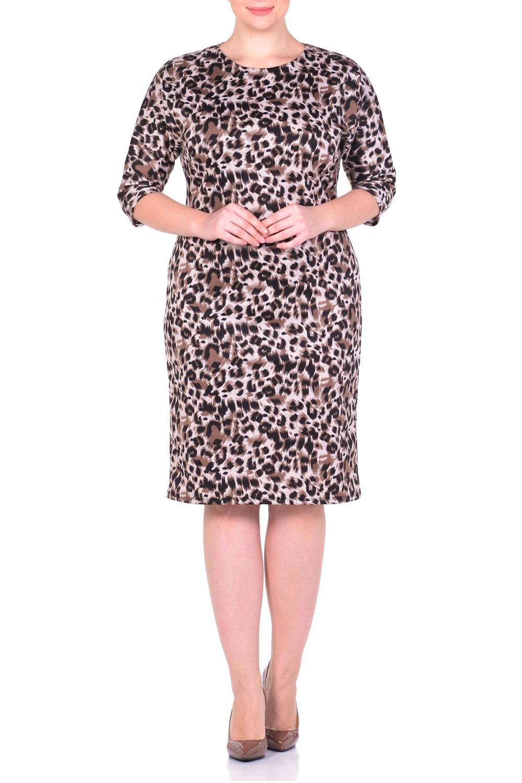 ПлатьеПлатья<br>Платье с рукавами quot;летучая мышьquot;. Основным преимуществом платья является то, что оно украсит женщину с абсолютно любой фигурой. Модели платья с широким верхом в области плеч и узким по бедрам низом идут всем. Вырез горловины круглый. Рукав 3/4.  Длина изделия 100-105 см.  В изделии использованы цвета: бежевый, коричневый  Ростовка изделия 170 см.<br><br>Горловина: С- горловина<br>По длине: Ниже колена<br>По материалу: Трикотаж<br>По рисунку: Леопард,С принтом,Цветные<br>По сезону: Зима,Осень,Весна<br>По силуэту: Полуприталенные<br>По стилю: Повседневный стиль<br>По форме: Платье - футляр<br>Рукав: Рукав три четверти<br>Размер : 50,52,54,56,58<br>Материал: Трикотаж<br>Количество в наличии: 5