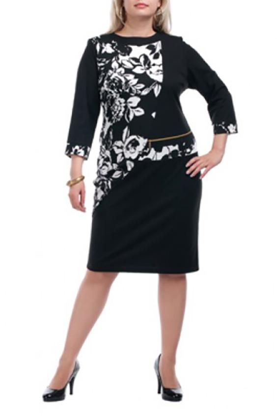 ПлатьеПлатья<br>Повседневное платье с круглой горловиной и рукавами 3/4. Модель выполнена из плотного трикотажа. Отличный выбор для повседневного гардероба.  Цвет: черный, белый  Рост девушки-фотомодели 173 см.<br><br>Горловина: С- горловина<br>По материалу: Вискоза,Трикотаж<br>По рисунку: Растительные мотивы,С принтом,Цветные<br>По силуэту: Полуприталенные<br>По стилю: Повседневный стиль<br>По форме: Платье - футляр<br>Рукав: Рукав три четверти<br>По сезону: Осень,Весна,Зима<br>По длине: Ниже колена<br>Размер : 66,68<br>Материал: Трикотаж<br>Количество в наличии: 2