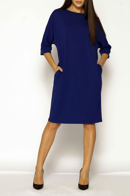 ПлатьеПлатья<br>Повседневное платье прямого силуэта длиной миди, с цельнокроеным рукавом три четверти на манжете и круглым вырезом горловины. Изделие выполнено из комфортного трикотажного полотна.  Длина изделия 100 см.  В изделии использованы цвета: синий  Ростовка изделия 170 см.<br><br>Горловина: С- горловина<br>По длине: Ниже колена<br>По материалу: Трикотаж<br>По рисунку: Однотонные<br>По сезону: Зима,Осень,Весна<br>По силуэту: Полуприталенные<br>По стилю: Классический стиль,Кэжуал,Офисный стиль,Повседневный стиль<br>По элементам: С карманами<br>Рукав: Рукав три четверти<br>Размер : 44-46<br>Материал: Трикотаж<br>Количество в наличии: 1