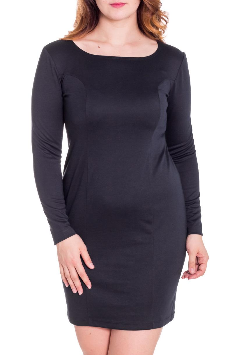 ПлатьеПлатья<br>Прекрасное платье с круглой горловиной и длинными рукавами. Модель полуприталенного силуэта, выполнена из плотного трикотажа. Отличный выбор для повседневного гардероба.  Цвет: черный  Рост девушки-фотомодели 180 см.<br><br>Горловина: С- горловина<br>По длине: До колена<br>По материалу: Трикотаж<br>По образу: Город,Офис<br>По рисунку: Однотонные<br>По сезону: Зима,Весна,Осень<br>По стилю: Офисный стиль,Повседневный стиль,Классический стиль,Кэжуал<br>По форме: Платье - футляр<br>Рукав: Длинный рукав<br>По силуэту: Приталенные<br>Размер : 42,44,48<br>Материал: Трикотаж<br>Количество в наличии: 5