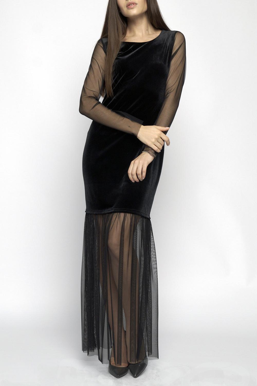 ПлатьеПлатья<br>Нарядное платье с воланом, длиной макси прилегающего силуэта, выполнено из бархата в сочетании с сеткой. Круглый вырез горловины, длинный рукав.   В изделии использованы цвета: черный  Длина 140 см по спинке  Ростовка изделия 170 см.<br><br>Горловина: С- горловина<br>По длине: Макси<br>По материалу: Бархат,Гипюровая сетка<br>По рисунку: Однотонные<br>По сезону: Весна,Зима,Лето,Осень,Всесезон<br>По силуэту: Приталенные<br>По стилю: Вечерний стиль,Нарядный стиль<br>По форме: Платье - годе<br>Рукав: Длинный рукав<br>Размер : 44-46<br>Материал: Бархат + Гипюровая сетка<br>Количество в наличии: 1