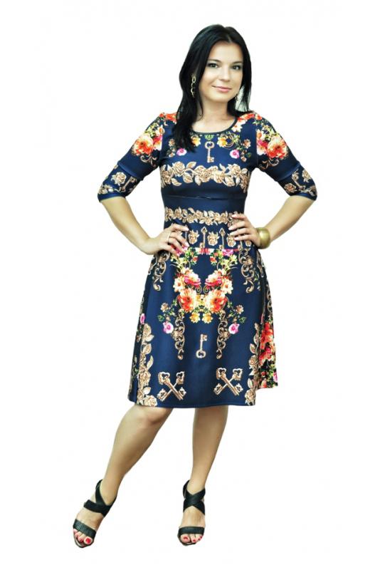 ПлатьеПлатья<br>Эффектное платье с круглой горловиной и рукавами 3/4. Модель выполнена из приятного трикотажа с цветочным принтом. Отличный выбор для повседневного гардероба.  Цвет: синий, бежевый, розовый<br><br>По образу: Свидание,Город<br>По стилю: Повседневный стиль<br>По материалу: Вискоза,Трикотаж<br>По рисунку: Растительные мотивы,Цветные,Цветочные<br>По сезону: Осень,Весна<br>По силуэту: Полуприталенные<br>По форме: Беби - долл<br>По длине: Ниже колена<br>Рукав: Рукав три четверти<br>Горловина: С- горловина<br>Размер: 44,46,48,50,52,54,56,58<br>Материал: 50% вискоза 50% полиэстер<br>Количество в наличии: 2