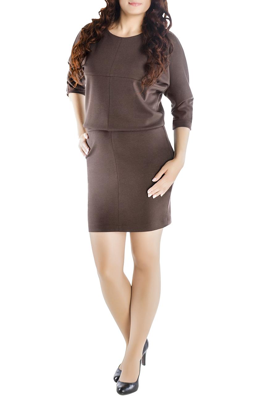 ПлатьеПлатья<br>Платье однотонное - летучая мышь, отрезное по линии талии. Платье с облегающей юбкой и свободным верхом выполнено в технике текстильная мозаика. Модели платья с широким верхом в области плеч и узким по бедрам низом идут всем. Вырез горловины круглый. Рукав 3/4. Ткань - плотный трикотаж, характеризующийся эластичностью, растяжимостью и мягкостью.   Длина изделия 100-105 см.   Цвет: коричневый  Рост девушки-фотомодели 170 см.<br><br>Горловина: С- горловина<br>По длине: До колена<br>По материалу: Вискоза,Трикотаж<br>По образу: Город,Офис,Свидание<br>По рисунку: Однотонные<br>По силуэту: Полуприталенные<br>По стилю: Нарядный стиль,Офисный стиль,Повседневный стиль<br>По элементам: С манжетами<br>Рукав: Рукав три четверти<br>По сезону: Осень,Весна<br>Размер : 44,46,48,50,52,54,56,58,60<br>Материал: Джерси<br>Количество в наличии: 8