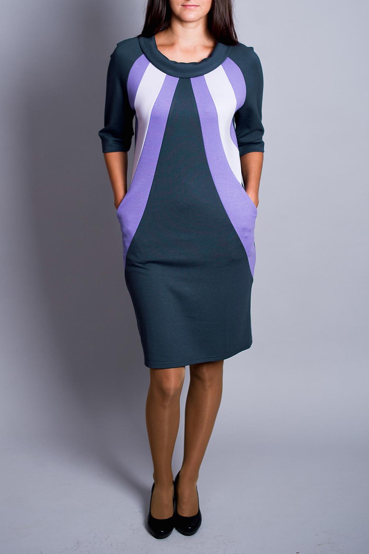 ПлатьеПлатья<br>Чудесное платье с круглой горловиной и рукавами 3/4. Модель выполнена из приятного материала. Отличный выбор для повседневного гардероба. Платье без пояса.  В изделии использованы цвета: серо-синий, белый, сиреневый  Ростовка изделия 170 см.<br><br>Горловина: С- горловина<br>По длине: До колена<br>По материалу: Вискоза,Трикотаж<br>По образу: Город,Свидание<br>По рисунку: Геометрия,Цветные<br>По сезону: Зима,Осень,Весна<br>По силуэту: Полуприталенные<br>По стилю: Повседневный стиль<br>По форме: Платье - футляр<br>По элементам: С карманами<br>Рукав: Рукав три четверти<br>Размер : 46<br>Материал: Трикотаж<br>Количество в наличии: 1
