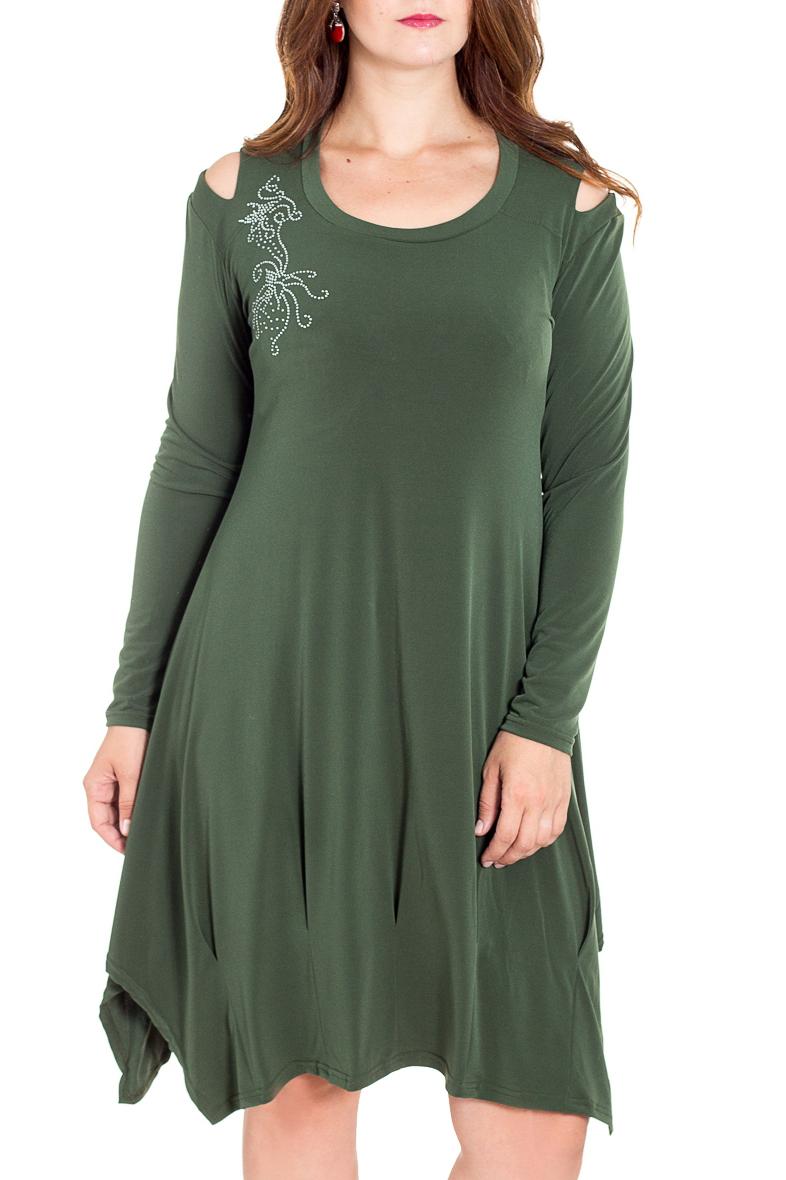 ПлатьеПлатья<br>Эффектное платье с длинными рукавами. Модель выполнена из приятного материала. Отличный выбор для любого случая.  Цвет: зеленый  Рост девушки-фотомодели 180 см.<br><br>Горловина: С- горловина<br>По длине: До колена<br>По материалу: Трикотаж<br>По рисунку: Однотонные<br>По силуэту: Полуприталенные<br>По стилю: Повседневный стиль<br>По элементам: С вырезом,С декором,С отделочной фурнитурой,С фигурным низом<br>Рукав: Длинный рукав<br>По сезону: Осень,Весна,Зима<br>По форме: Платье - трапеция<br>Размер : 52<br>Материал: Холодное масло<br>Количество в наличии: 1