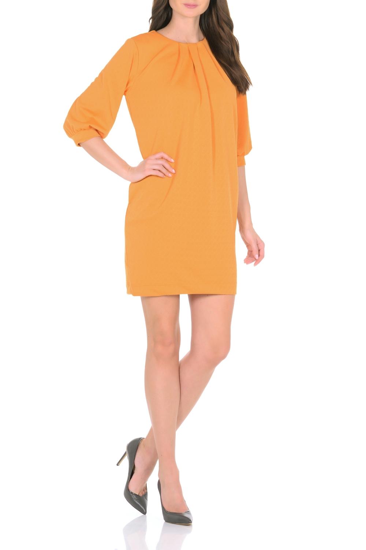 ПлатьеПлатья<br>Трикотажное платье совмещает в себе комфорт и элегантность. Платье идеально подходит как для офиса, так и для более непринужденной обстановки. Модель нарочито лаконичного прямого кроя наделена неповторимой выразительностью благодаря фактурной ткани. Складки у круглого выреза и рукава 3/4 на манжетаж подчеркивают женственную элегантность модели. В боковом шве расположены карманы. Простота кроя и минимум отделки позволят Вам поэкспериментировать с аксессуарами. Создавайте Ваш стиль с удовольствием.   Длина изделия 87-90 см.  В изделии использованы цвета: желтый  Ростовка изделия 170 см.<br><br>Горловина: С- горловина<br>По длине: До колена<br>По материалу: Трикотаж<br>По рисунку: Однотонные<br>По сезону: Зима,Осень,Весна<br>По силуэту: Приталенные<br>По стилю: Кэжуал,Повседневный стиль<br>По форме: Платье - футляр<br>По элементам: С карманами,С манжетами,Со складками<br>Рукав: Рукав три четверти<br>Размер : 44,46,48,50<br>Материал: Трикотаж<br>Количество в наличии: 4